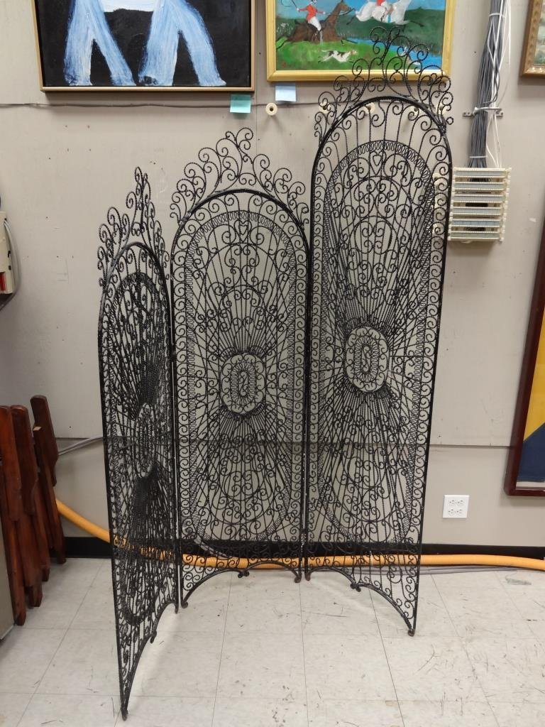 Antique Spanish Wrought Iron Room Divider Screen