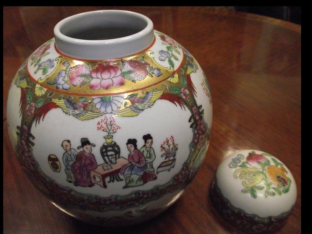 Vintage Oriental Handpainted Porcelain Jar w/Lid