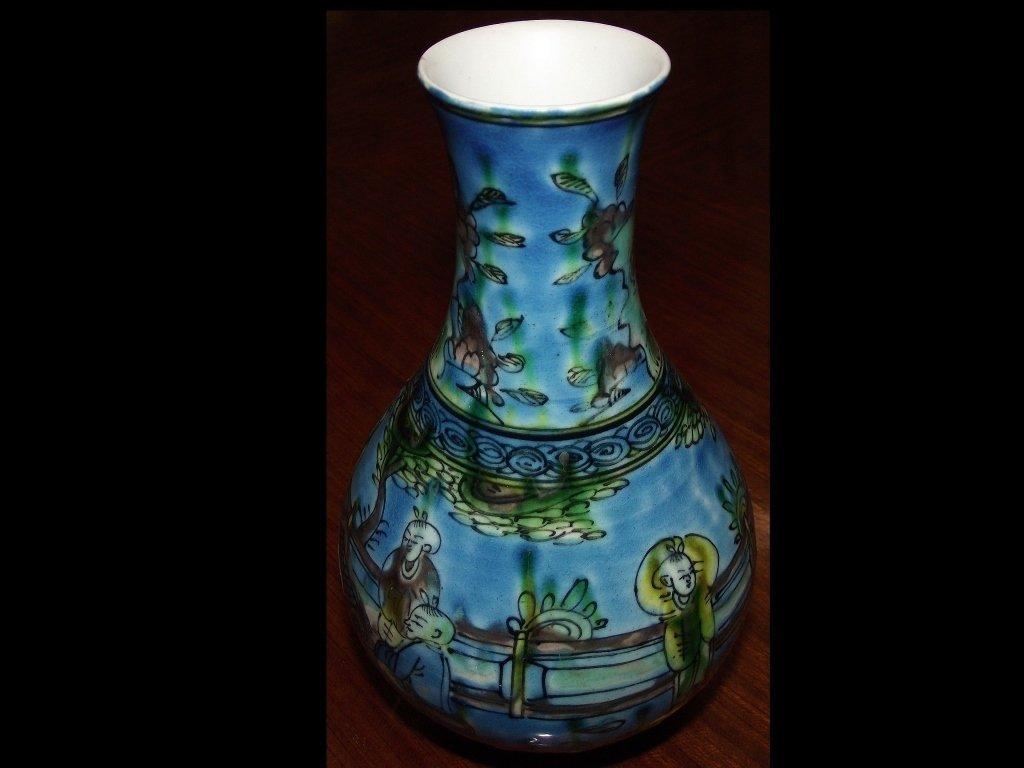 Vintage Oriental Handpainted Blue Ceramic Vase