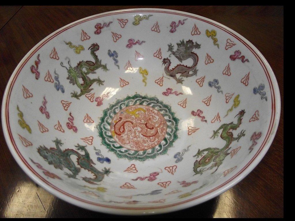 Vintage Oriental Handpainted Ceramic Bowl- Dragons