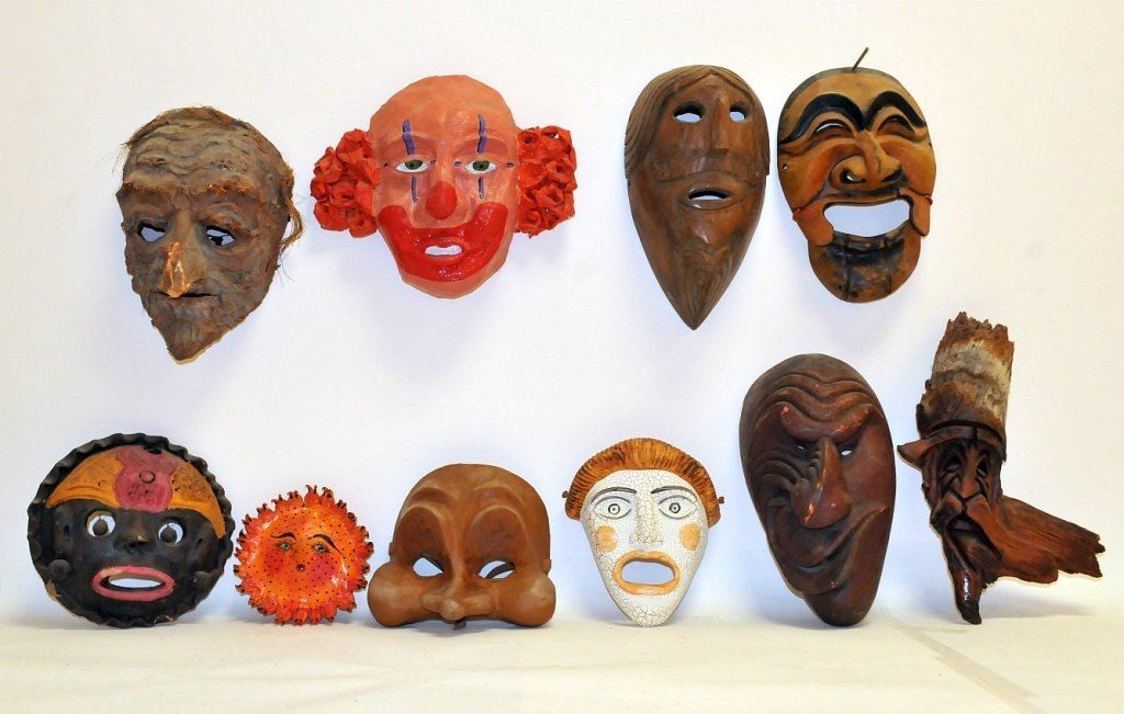 Lot of 10 Masks- 5 Theatrical by Lester Polakov