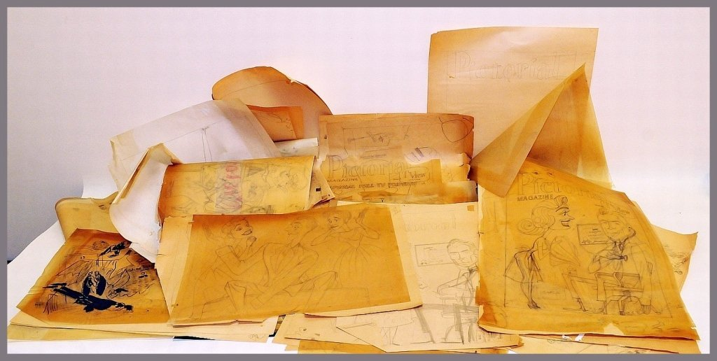 Large Lot of George Wachsteter Drawings & Sketches
