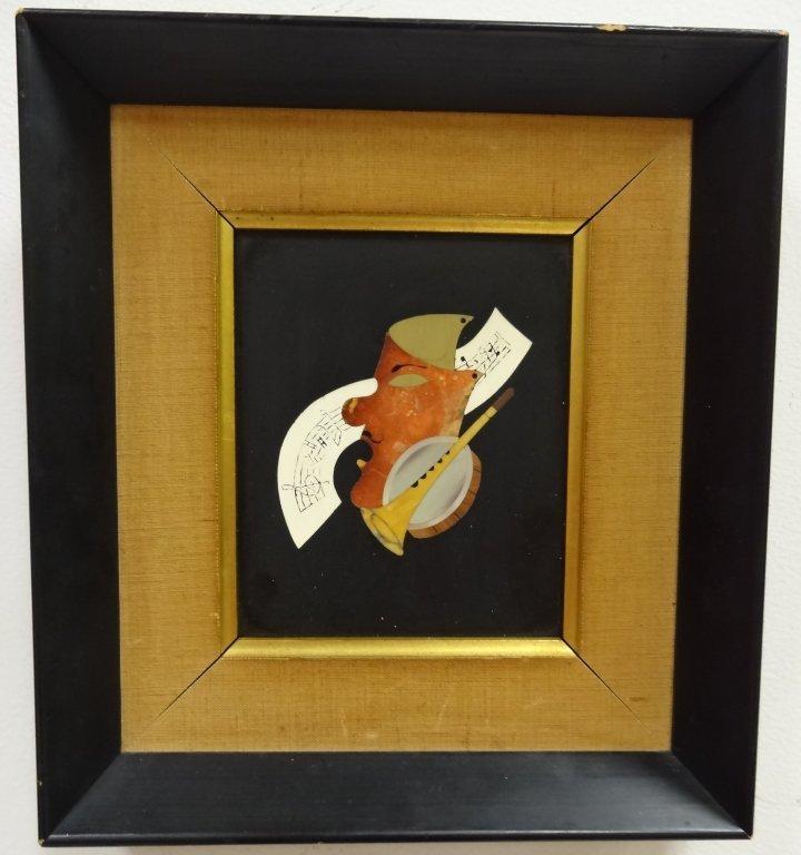 Vintage Framed Pietra Dura Plaque- Music Motif