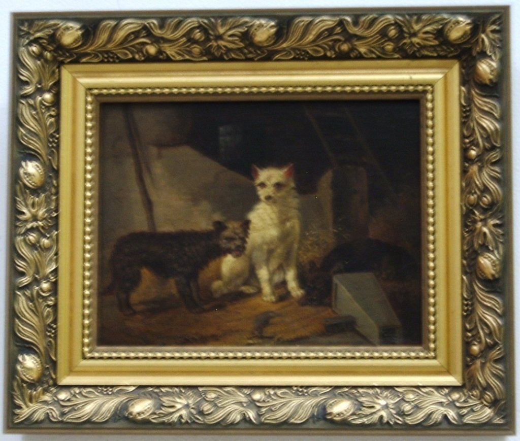 Antique Portrait of Three Dogs- Oil on Canvas