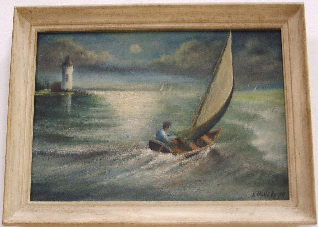 Vintage Seascape- AE Miller- Oil on Canvas