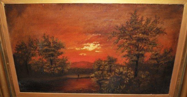 Landscape w/Sunset- Attrib. M J Heade- Oil/Canvas