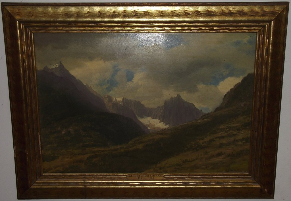Mountain Scene- Albert Bierstadt- Oil on Panel