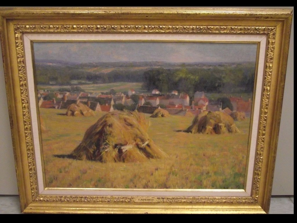 Landscape with Haystacks- E Boyd Smith- Oil/Canvas