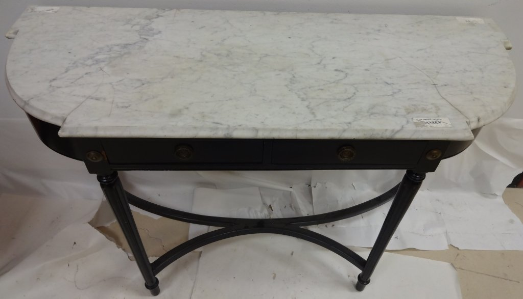 Midcentury Jansen Console with Marble Top