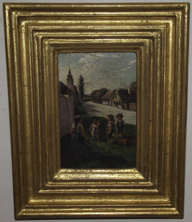 Antique Portrait of Children on Lawn/Oil on Canvas