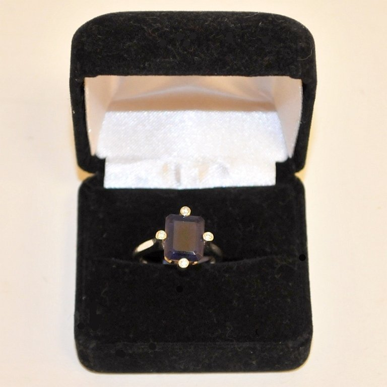 Vintage Modernist 14K Ring with Iolite & Diamonds
