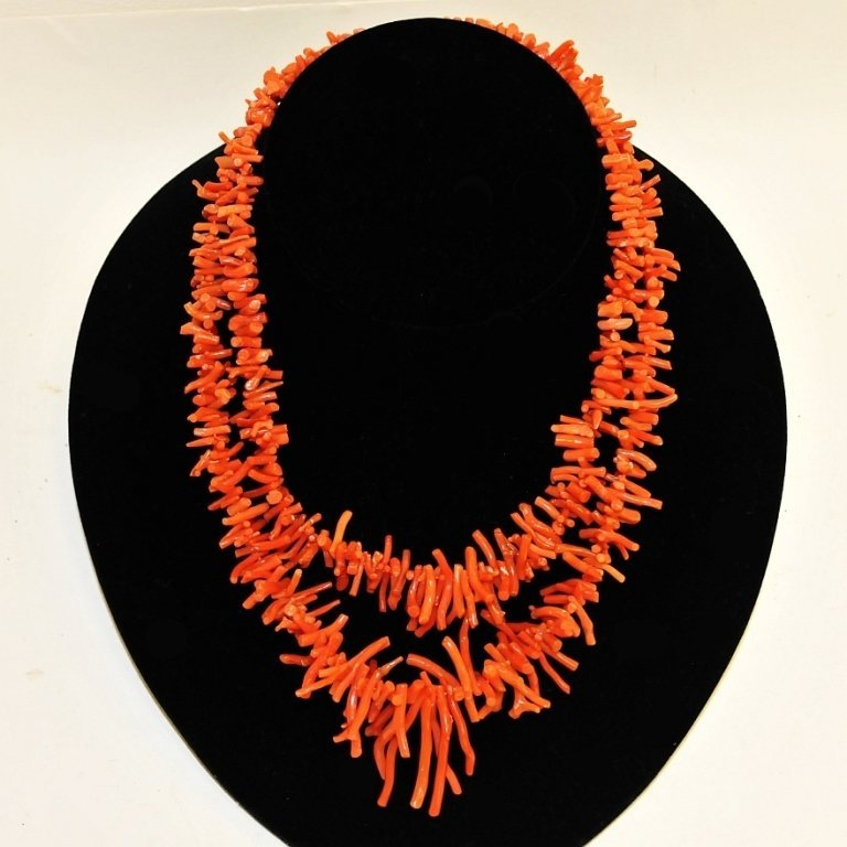 Vintage Two-Strand Salmon Coral Necklace