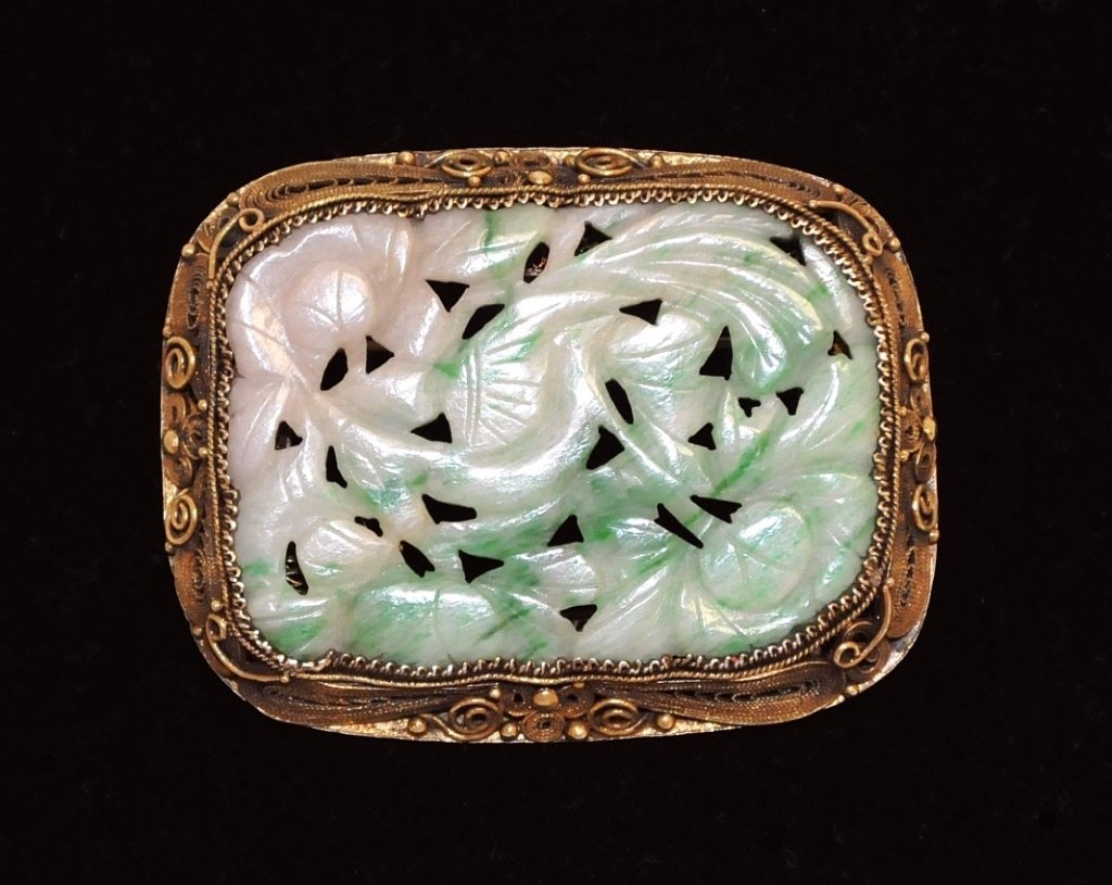 Vintage Carved Chinese Jade Brooch