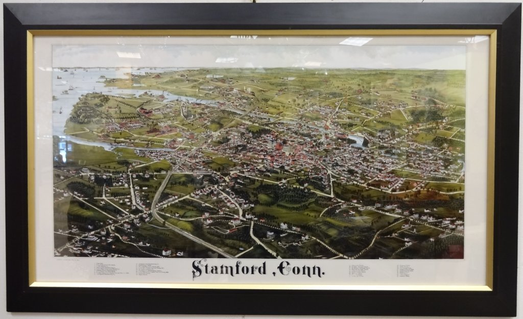 Color Lithograph of Stamford, Connecticut