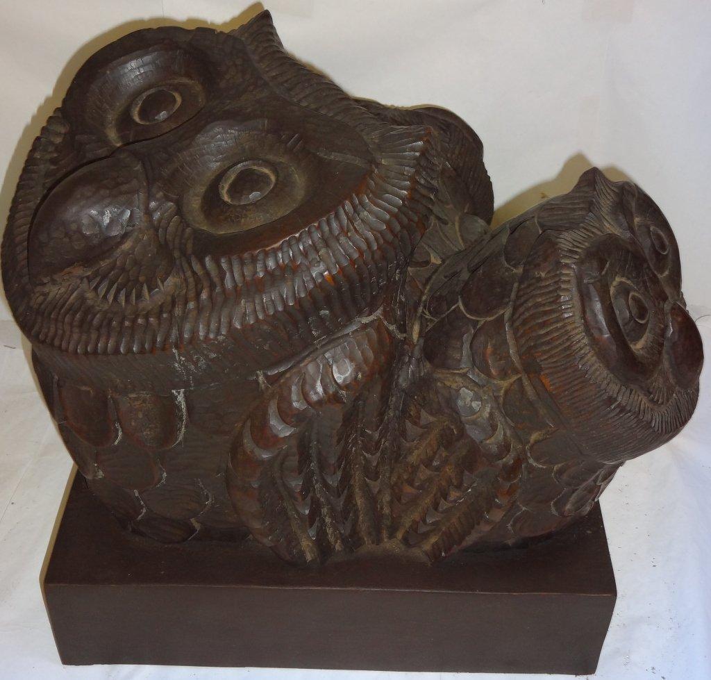 """""""Los Buhos"""" (Owls)- Caoba- 1982 Wooden Sculpture"""