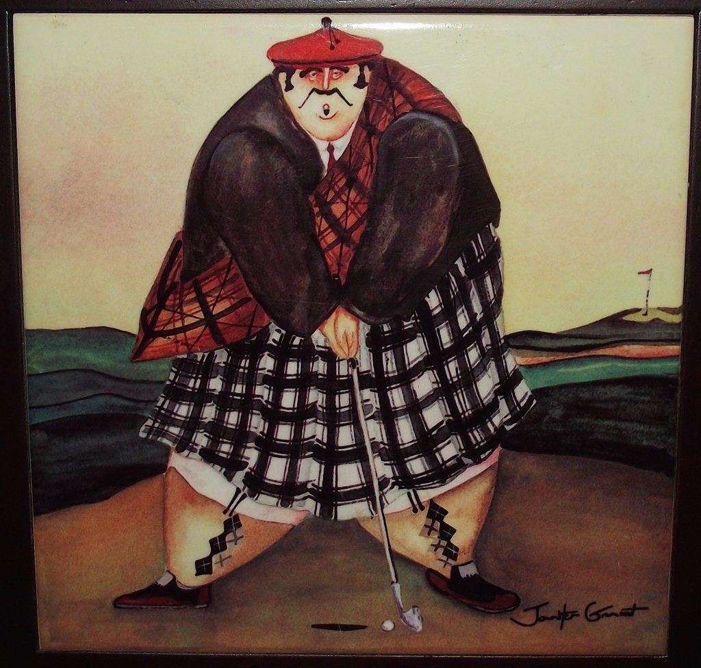 Jennifer Garant- Fat Scottish Golfer- Ceramic Tile - 2