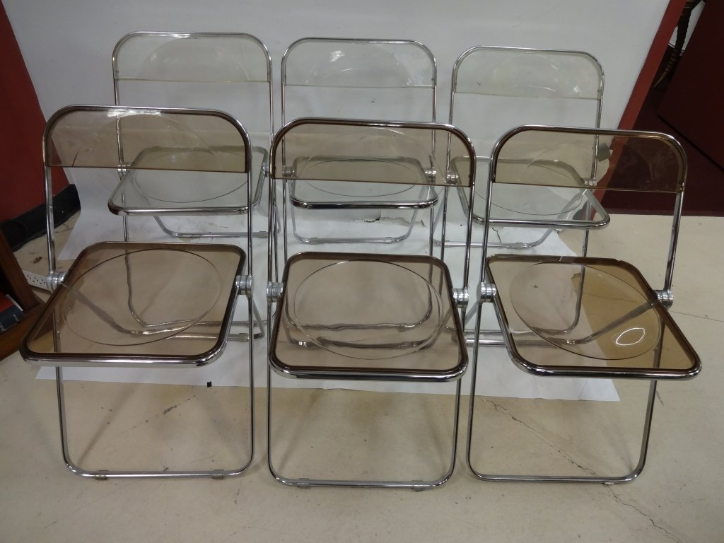 6 Vintage Lucite and Chrome Folding Chairs