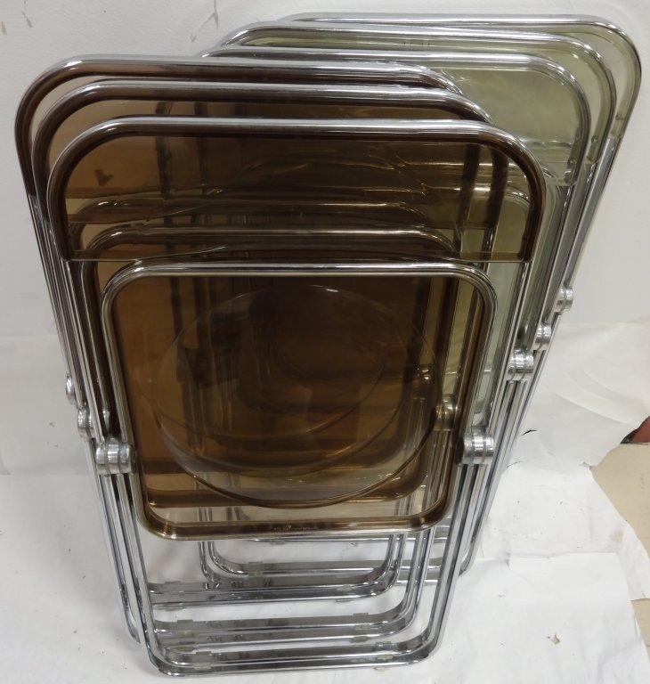 6 Vintage Lucite and Chrome Folding Chairs - 4