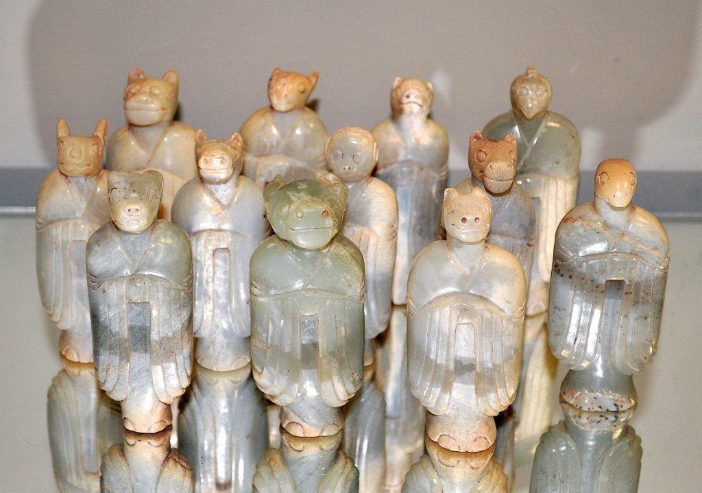 Han Dynasty- All 12 Carved Jade Zodiac Figures