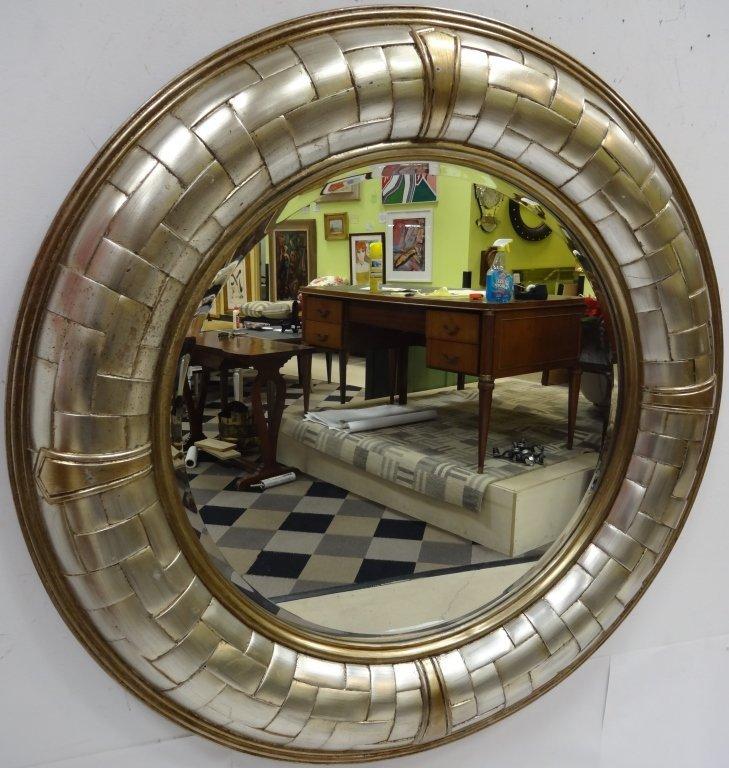 Modernist Silver & Gold Circular Mirror w/Bevel