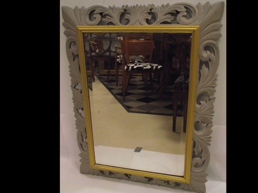 Antique Silver and Gold-Gilt Framed Mirror