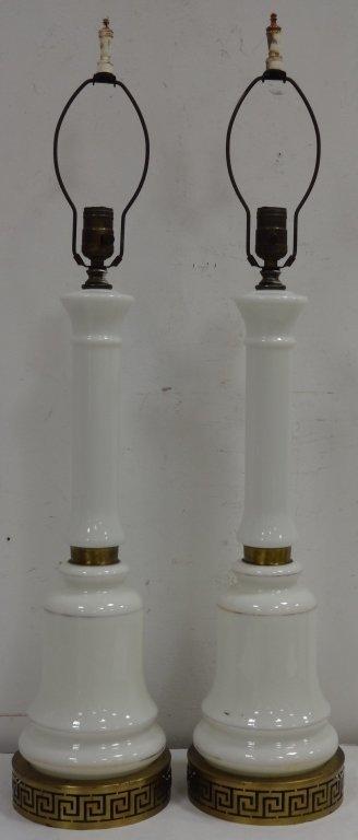Pair/Midcentury Milk Glass Lamps w/Greek Key Base