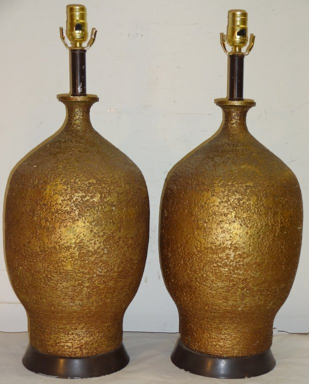 Pair of Brutalist Brushed Gold-Gilt Lamps
