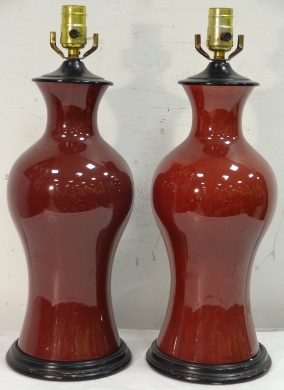 Pair of Asian-Style Table Lamps with Red Glaze