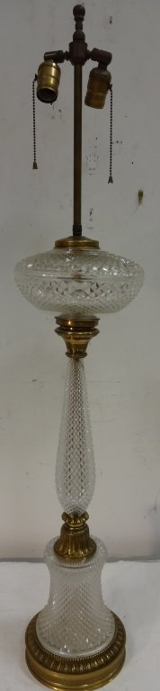 Art Deco Brass and Crystal Lamp