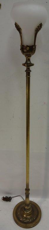 Art Deco Brass and Milk Glass Floor Lamp