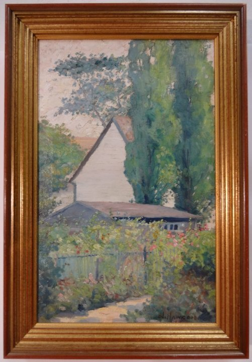 Garden Scene with House- Belle Hawgood- O/C