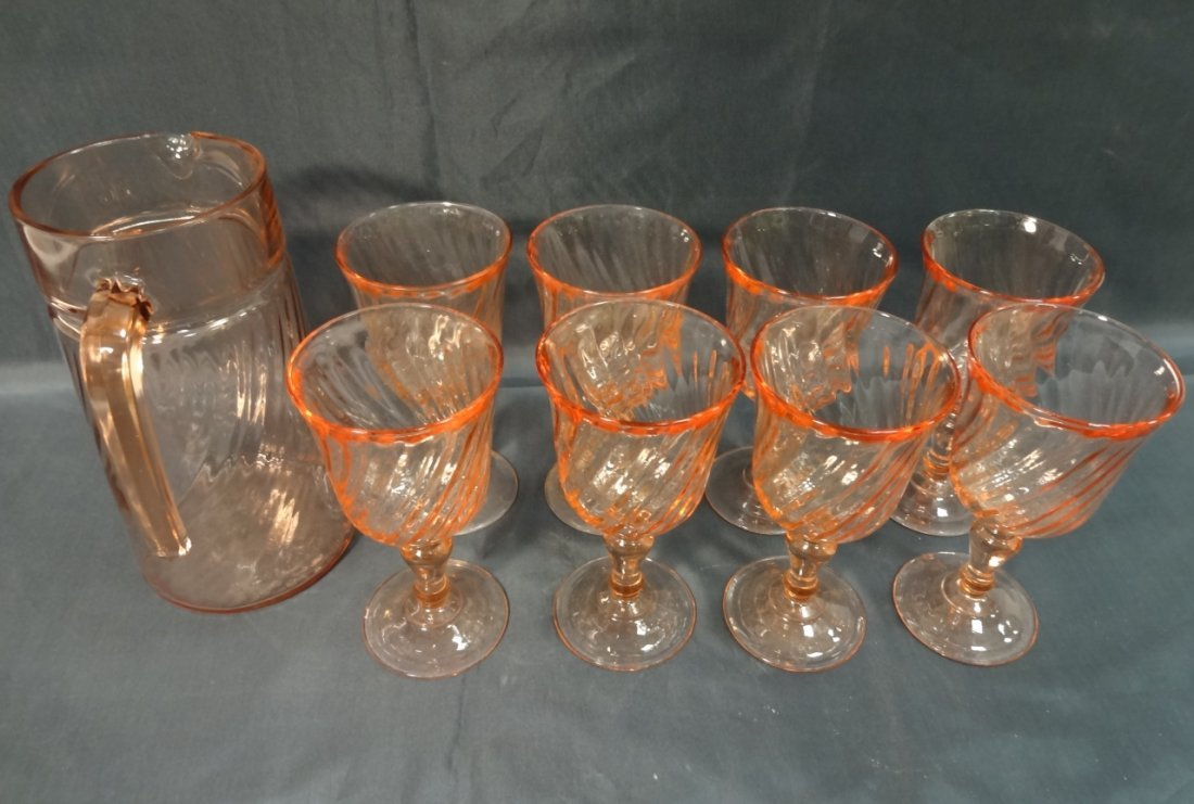 Pink Depression Glass Pitcher and 8 Wine Glasses