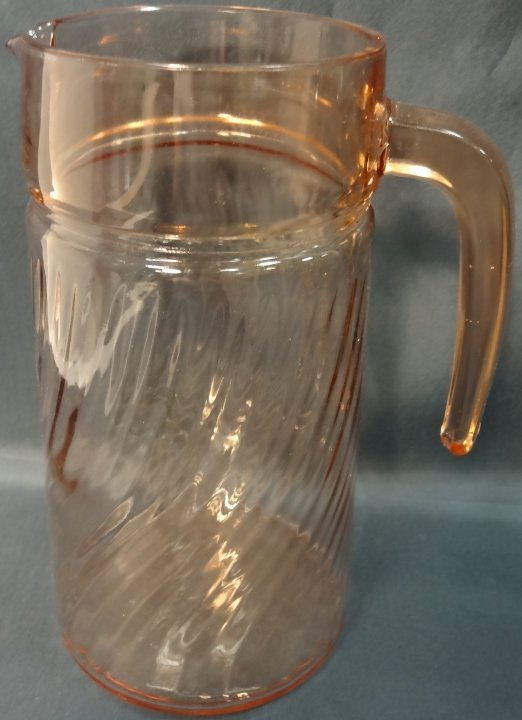 Pink Depression Glass Pitcher and 8 Wine Glasses - 2