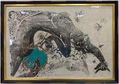Mitsuzo Yamada 1975 Color Woodblock of Woman EA