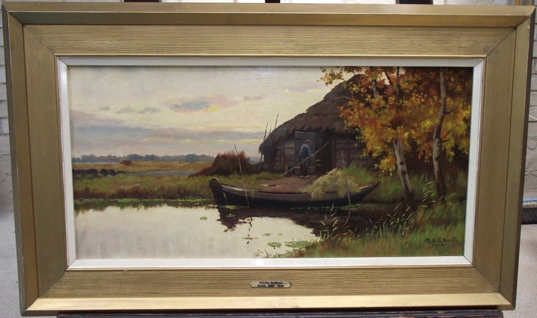 Maurits de Groot- Waterscape w/Boat+Building- O/C