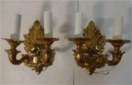 PairArt Nouveau Brass Electrified Wall Sconces