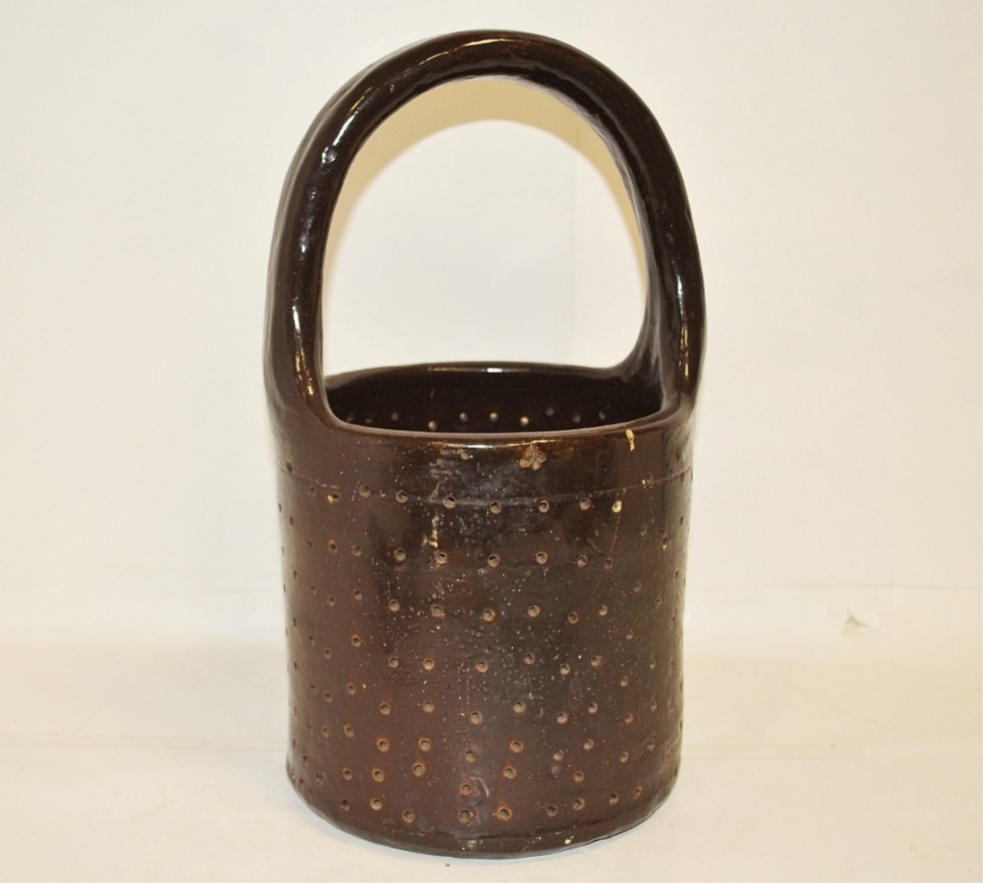 Antique Pottery Handled Minnow Trap or Seive  c.1890