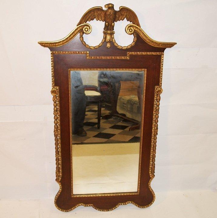 Georgian Mahogany Mirror w/Gilt Eagle and Trim