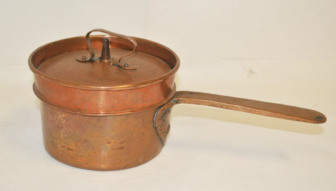 18th C American Copper Lidded Handled Cooking Pot