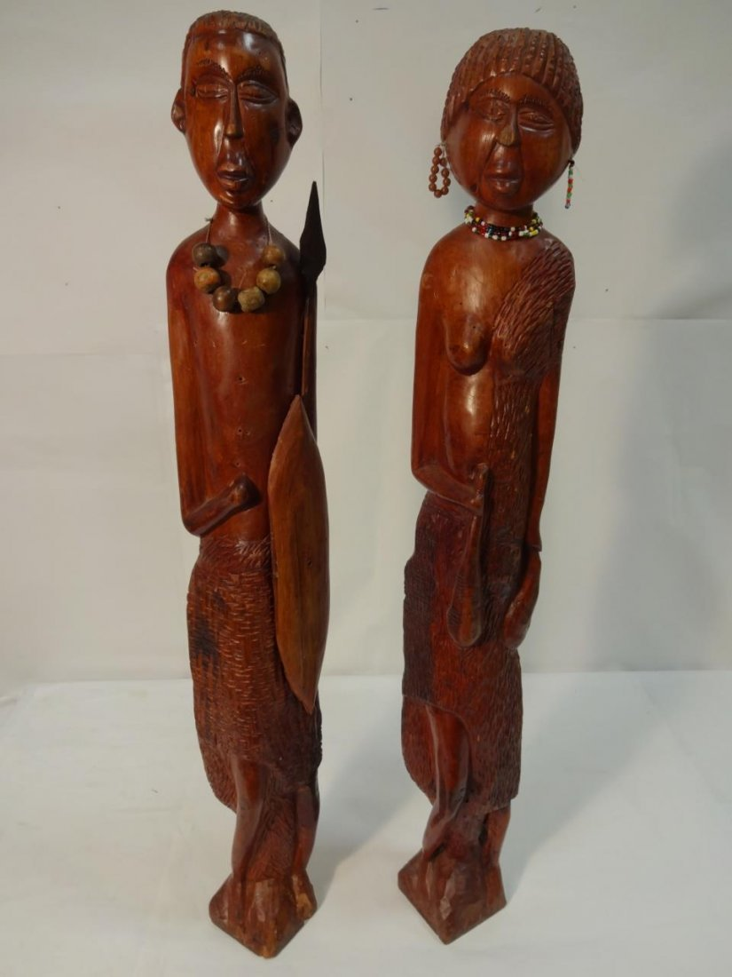 Decorative African Wood Carvings- Man & Woman