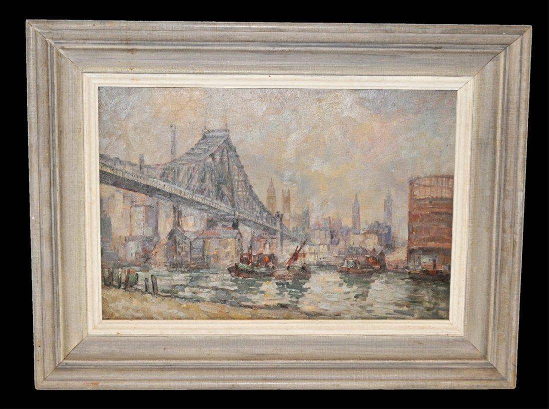 New York Harbor Scene-Attrib Augusto Schiavani-O/C