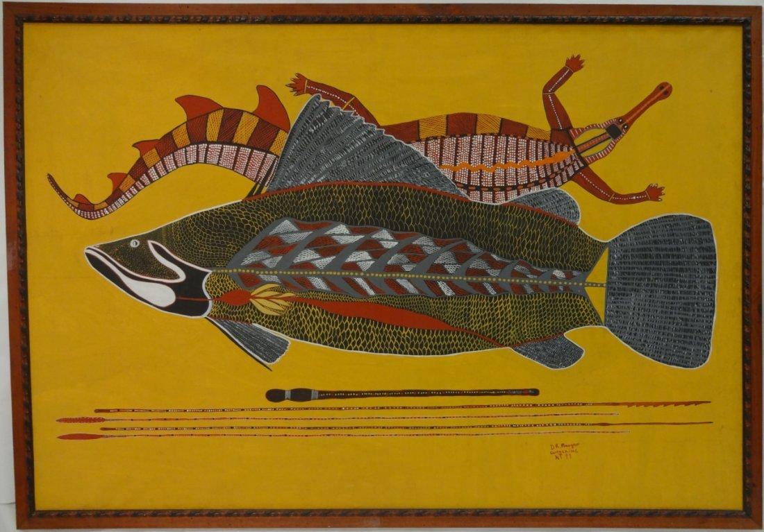 Signed 1997 Aborigine Painting of Fish- Oil/Canvas