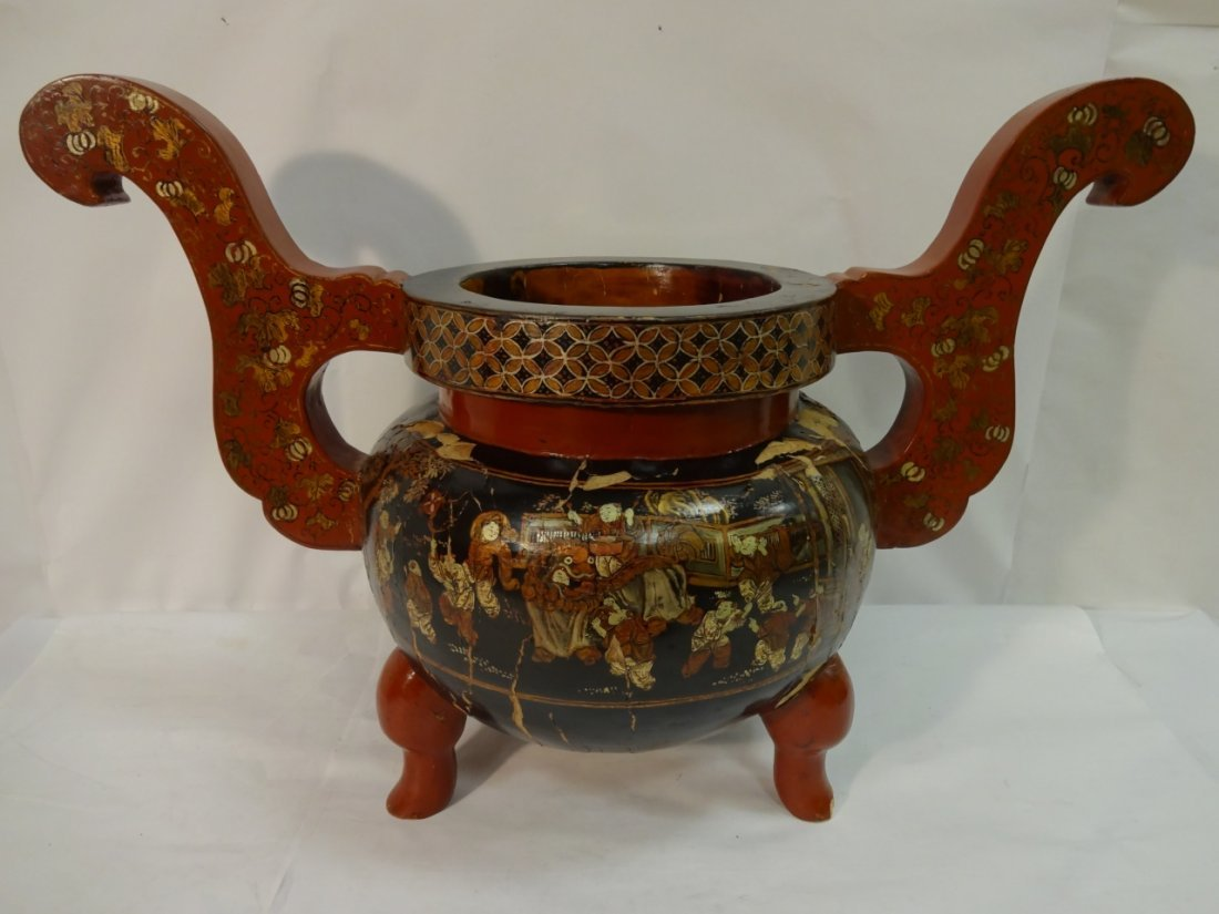 Antique Chinese Hand-Painted Pottery Commode