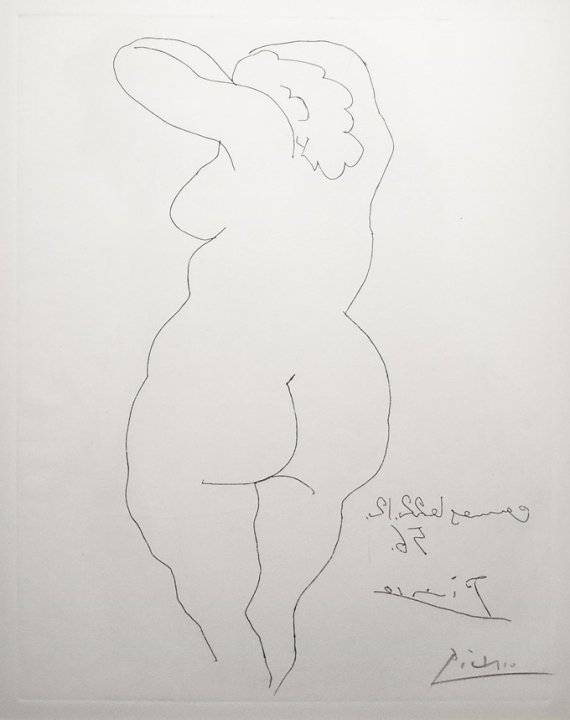 Pablo Picasso/Nude Woman Facing Back/S'd Etching - 2