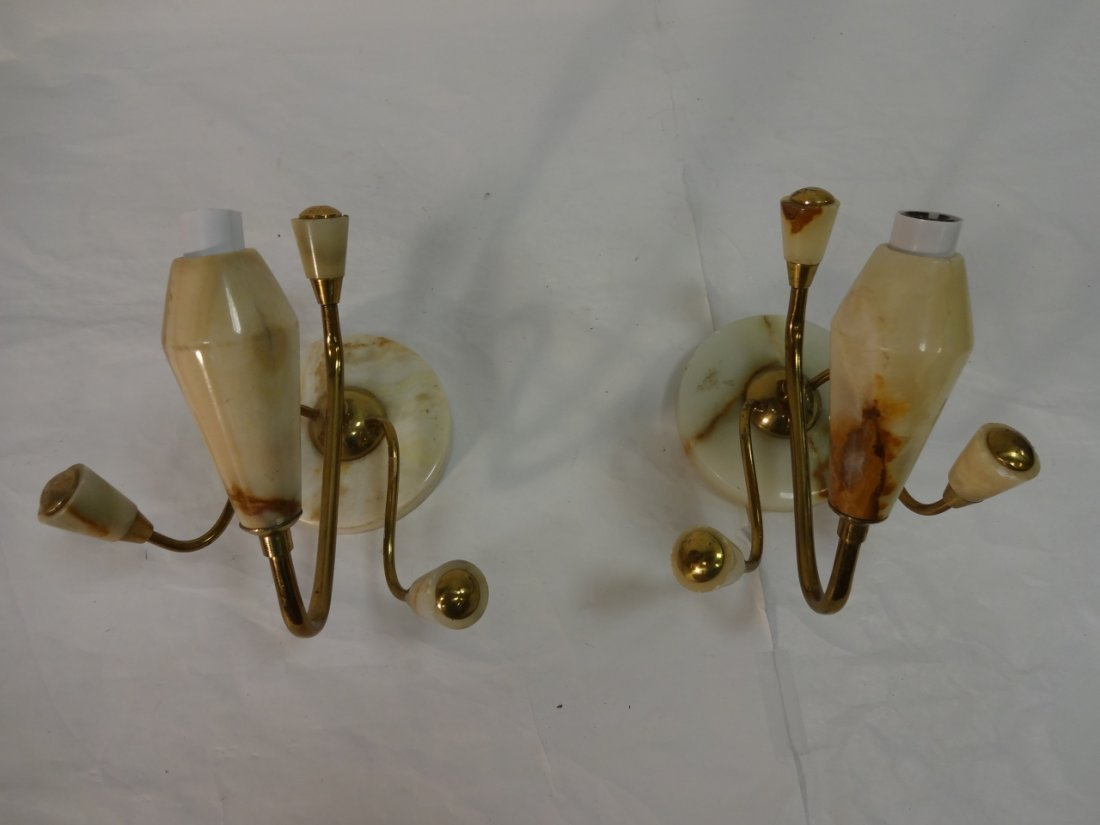 Pair of Mid-Century Brass and Marble Sconces