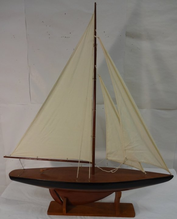 Model Sailboat with Display Stand