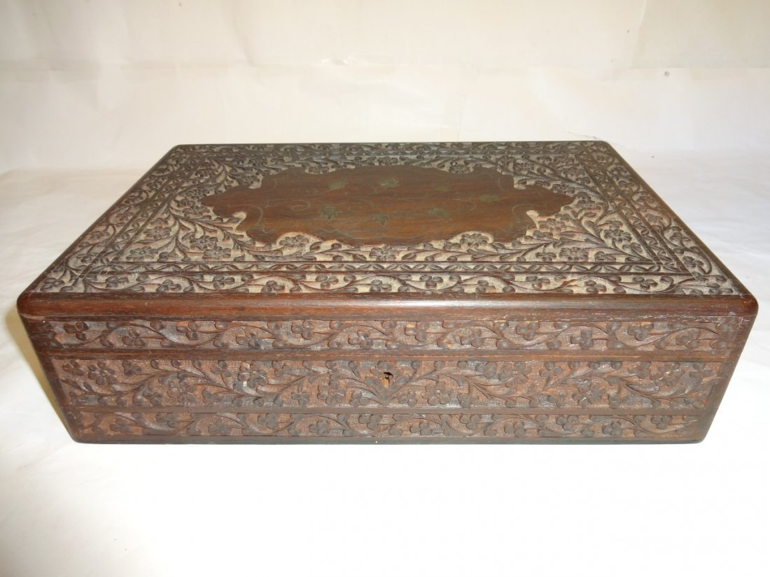 Antique Indian Carved Rosewood Humidor
