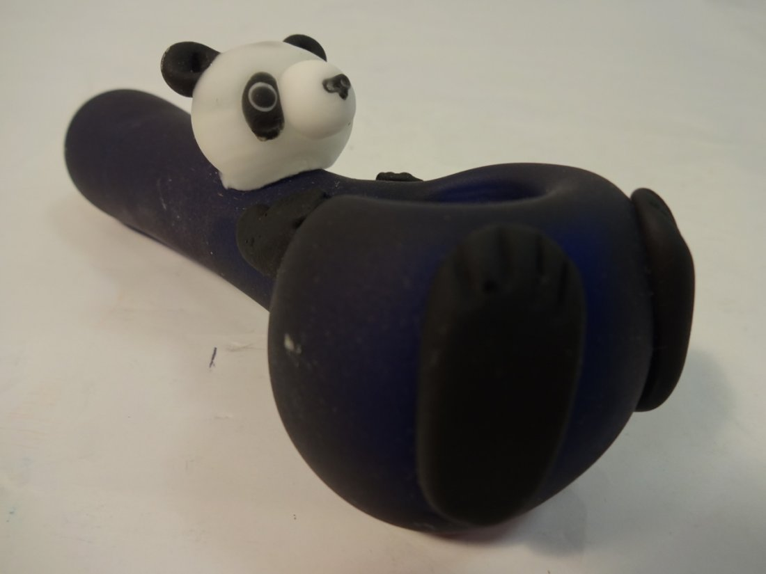 Pair/Hand Crafted Frosted Glass Pipes-Frog+Panda - 4