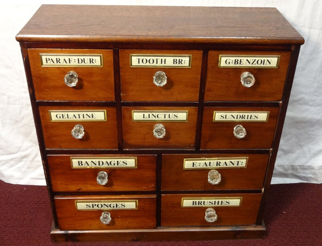 Vintage apothecary cabinet for sale - Vintage Wooden Apothecary Cabinet W Glass Knobs