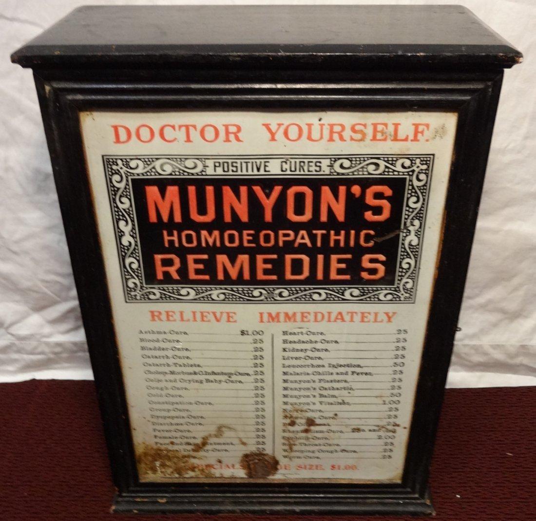 "Vintage Wood Medicine Chest/Dispensary ""Munyon's"""